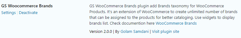 activate GS Woocommerce Brands plugin