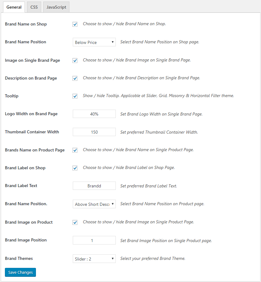 Woocommerce Product Brands Settings